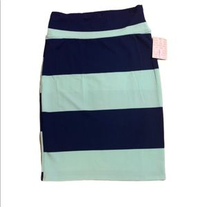 Lularoe teal and navy striped Cassie skirt NWT